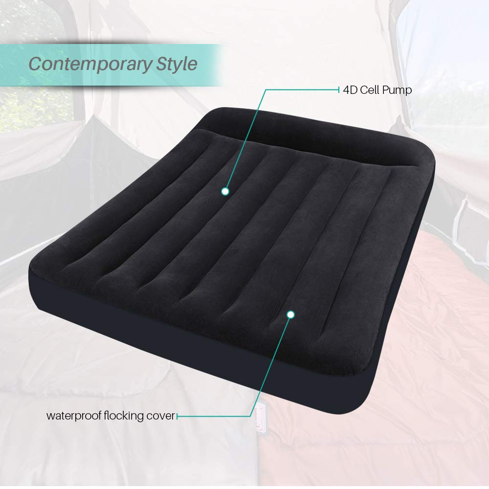 MWShop Instant Inflatable Mattress Air W/ 4d Cell Pump for Comfort and Reliability F Sleeping on a Raised Platform Plush, Waterproof Flocking Covers The Mattress Top Twin Polyresin Vinyl Black