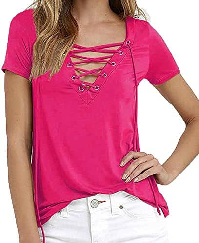 Mitario Femiego Women's Bandage Vneck Low Cut Drawstring Stylish Casual Tshirt