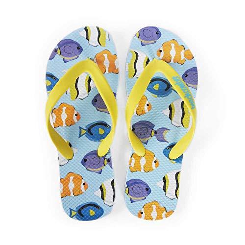 - Beachcomber Blue Water Tropical Fish Natural Rubber Flip Flops (Medium (Kids 5,6 Ladies 7,8))