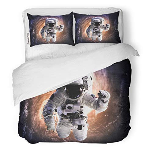 Semtomn Decor Duvet Cover Set King Size Fiction Astronaut in Outer Space of This Furnished 3 Piece Brushed Microfiber Fabric Print Bedding Set Cover ()