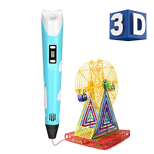 3D Pen with LCD Screen, 3D Printing Drawing Pen Kit with 1.75mm PLA Filament Pack of 3 Different Colors, Each Color 10 Feet, Perfect Gift for Kids and Adults - Blue ()