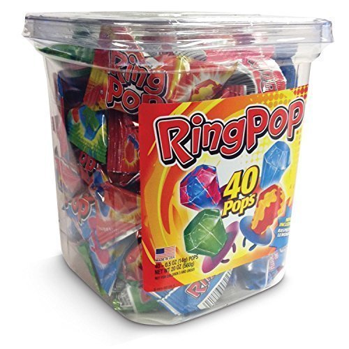 Ring Pop Lollipop Candy Assorted Flavors 40 ct Sealed Tub FACTORY FRESH by Destinie -
