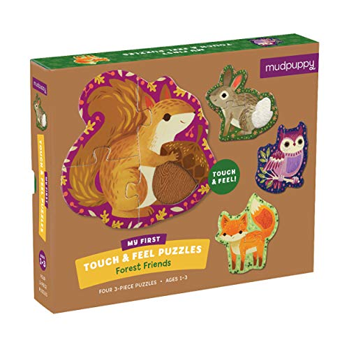 Mudpuppy Forest Friends My First Touch & Feel Puzzles – Set of 4 Textured Puzzles for Small Children – Ages 1+