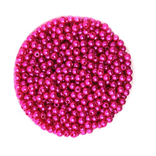 FunnyPicker New Wholesale 4Mm Dia. 1000Pcs/Lot Round Pearl Imitation Plastic Pearl Beads Fushia For You To Diy Jewelry 1000 pieces/lot