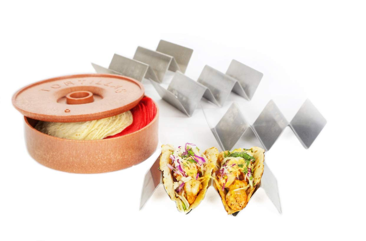 Taco Holder with Tortilla Warmer; 4 Pack Stainless Steel, Rust Free, TacoTruck Style Holders, Each Holds Up To 3 Upright Delicious Tacos, Includes a 10in. Durable Tortilla Warmer