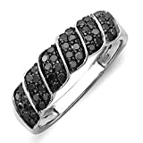 0.50 Carat (ctw) Sterling Silver Black Diamond Ladies Cocktail Right Hand Ring 1/2 CT (Size 8.5)