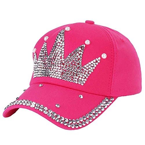 Funbase Children Outdoor Sports Star Shaped Bling Baseball Hiking Cap (Rose&Crown) ()