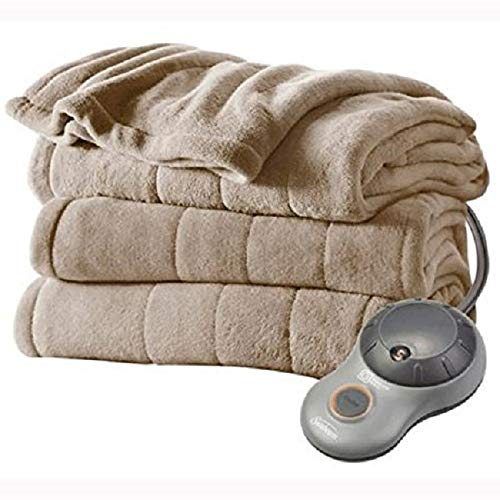 Sunbeam Channeled Microplush Heated Electric Blanket Full Mushroom