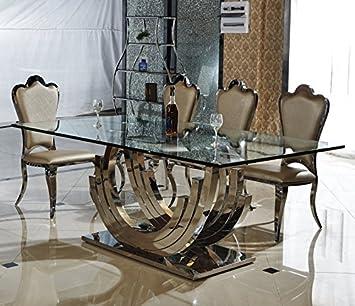 Smaragd Designer Esstisch Edelstahl Esszimmer Tisch Glastisch Glas