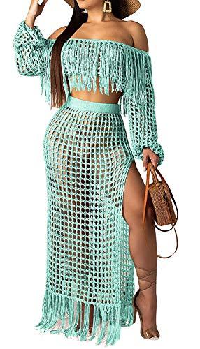 DINGANG Women Sexy 2 Piece Outfits Strapless Tassels Tube Top + Slit Sheer Mesh Summer Beach Skirts