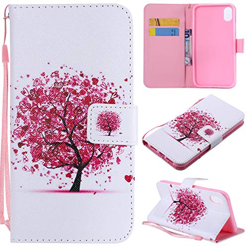 (Ostop Colorful Painted Leather Wallet Case for iPhone Xr,[Kickstand Feature] Red Heart Tree Printed White PU Magnetic Flip Cover with Card Slots Wrist Strap Shockproof Shell)