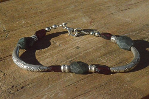 rls Hill Tribe Beads Natural Garnet Emerald 925 Solid Sterling Silver Bracelet Tribal Ethnic Handmade (Emerald 925 Silver Bracelet)