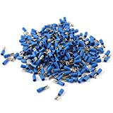 Uxcell FDD2-187 Sleeve Pre Insulated Spade Crimp Terminals, 300 Pcs, Blue