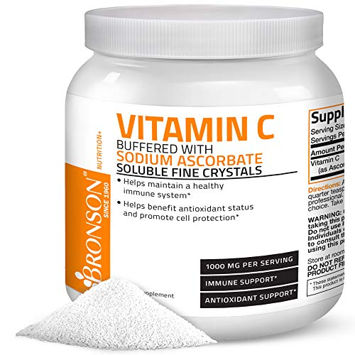 Buffered Vitamin C Powder Ascorbic Acid Buffered with Sodium Ascorbate Soluble Fine Crystals - Promotes Healthy Immune System and Cell Protection - Powerful Antioxidant - 1 Kilogram (2.2 Lbs)
