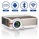 LED Wifi Smart Home Theater Wireless Bluetooth Projector 5000 Lumen Multimedia LCD HD Video Projector with Android HDMI USB VGA AV Audio Built-in Speakers for Phones Laptop PS4 DVD Movies Gaming TV