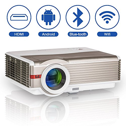 5000Lumen Wxga LED LCD Home Theater Projector HD Wifi Bluetooth Smart Wireless Video Projectors Movie Gaming HDMI USB VGA AV Audio for Indoor Outdoor Party Basement Smartphone TV DVD XBOX PS4 Laptop
