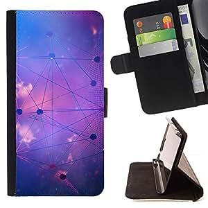 For Sony Xperia Style T3 Case , Forma de Estrella Sistema Sky Purple Astrología- la tarjeta de Crédito Slots PU Funda de cuero Monedero caso cubierta de piel