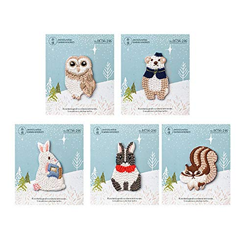 Felice Cartoon Owl Bear Embroidered Patches Iron On for Jeans Jackets DIY Kids Clothes Patterns Appliques Patch for Boys and Girls (5 PCS)