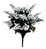 Admired By Nature 14 Stems Artificial Heather Fillers Bush & Greenery for Home, Wedding, Restaurant, Office Decoration Arrangement, White