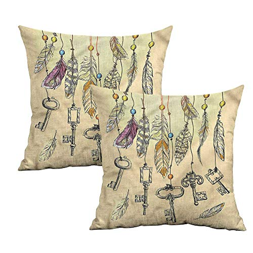 (Khaki home Vintage Square Body Pillowcase Bohemian Feathers and Keys Square Throw Pillow Covers Cushion Cases Pillowcases for Sofa Bedroom Car W 24
