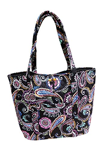 (Vera Bradley Vera Tote Bag, Bandana Swirl ,One Size ,Bandana Swirl With Black Interior )