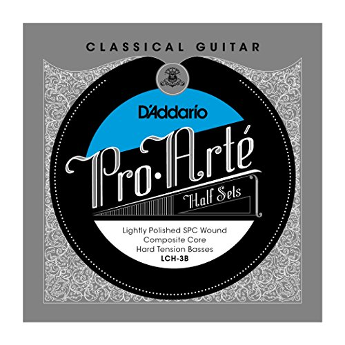 (D'Addario LCH-3B Pro-Arte Lightly Polished Silver Plated Copper on Composite Core Classical Guitar Half Set, Hard Tension)