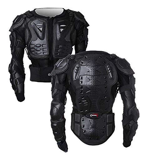 OHMOTOR Motorcycle Motorbike Full Body Armor Protector Pro Street Motocross ATV Guard Shirt Jacket with Back Protection (Black, S)