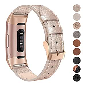SWEES Leather Bands Compatible for Charge 3 & Charge 3 SE Fitness Tracker, Genuine Leather Band Strap Wristband for Women Men Small Large, Black, Rose Gold, Beige, Brown, Grey, Tan