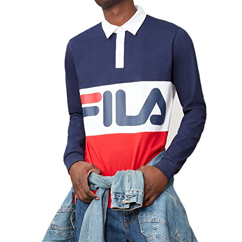 Fila Men's Harley Rugby Shirt, Navy, Chinese Red, White, L