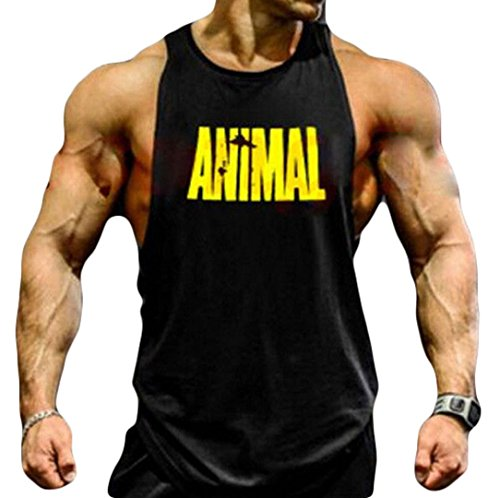 Zaaale Men Animal Muscle Fitness Gym Stringer Tank Tops Bodybuilding Workout Sleeveless Shirts (2XL, - Bodybuilding.c
