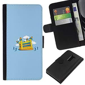 NEECELL GIFT forCITY // Billetera de cuero Caso Cubierta de protección Carcasa / Leather Wallet Case for LG G2 D800 // Divertido Ataque Castillo