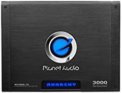 Take control of your in-vehicle audio experience with the Planet Audio Anarchy AC3000.1D Monoblock Class D Amplifier. This powerful 1-Ohm stable Amplifier features 3000 Watts Max Power with a MOSFET power supply for full-on sound. Customize t...