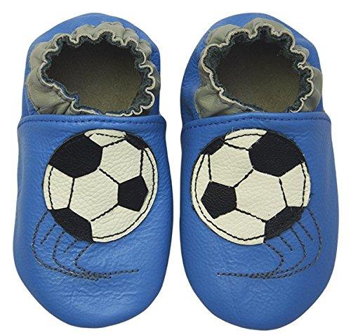 Rose & Chocolat RCC Soccer Star - Patucos de cuero para niño Azul (Soccer Star Blue)