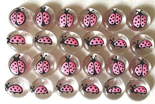 Jazzy Glass Gems, Hand Painted Set of 24, Party Favor, Decoration, Mosaic Tile, Crafts etc, Pink Ladybugs from Jazzy Glass Gems