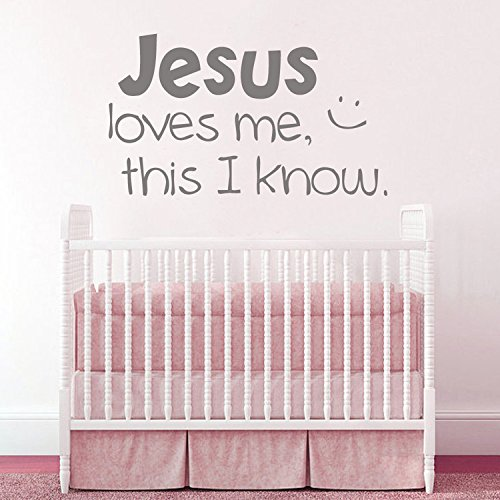 Jesus Loves Me Vinyl Wall Decal Scriptures Home Decor Baby Nursery Vinyl Wall Art Girls Room Wall Sticker(Black, m) Lucky Life