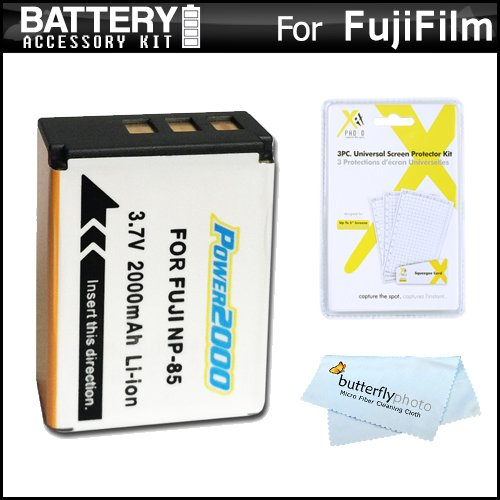 (Battery Kit for Fuji Fujifilm FinePix SL300, FinePix SL1000, FinePix S1 Digital Camera Includes Extended (2000 Mah) Replacement Fuji NP-85 Battery + LCD Screen Protectors + Microfiber Cleaning)