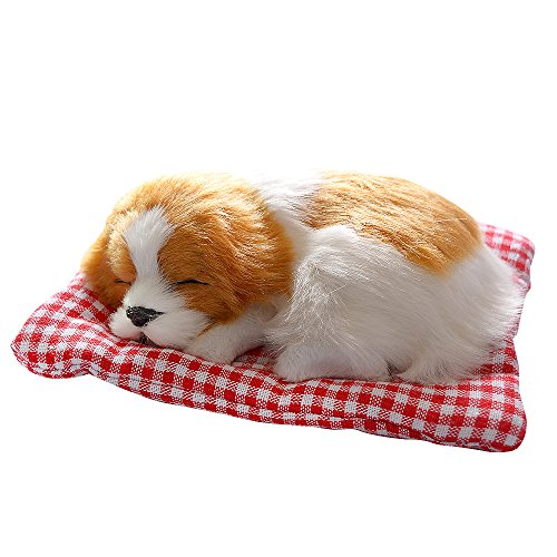 Toonol Lovely Simulation Animal Doll Plush Sleeping Dogs with Sound Perfect Birthday Gift Doll Decorations Toy, Color White and Yellow