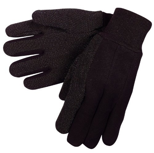 MCR Safety 7810 Jersey Cotton Knit Wrist Men's Gloves with Plastic Mini Dotted Palm Clute Pattern, Brown, Large, 1-Pair by MCR Safety Palm Clute Pattern