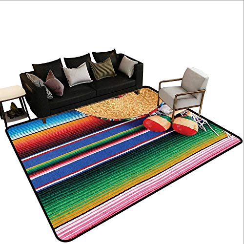 Kids Rugs Mexican Decorations Collection Mexican Artwork with Sombrero Straw Hat Maracas Serape Blanket Rug Image Ideal Gift for Children5'10 x6'10 Green Blue Red Ivory ()