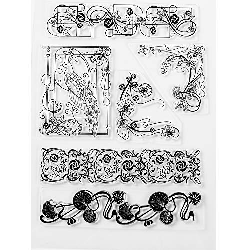 MaGuo Flower Corner and Border Decorative Clear Stamps for DIY Scrapbooking Photo Album Card Making Decorative