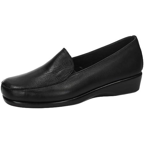 48 HORAS 0301/01 Mocasines DE Piel Mujer Zapatos TACÓN Negro 36: Amazon.es: Zapatos y complementos