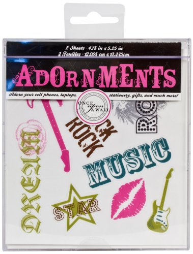 Die Cuts With A View Adornment Rock & Roll Peel & Stick, 2 Sheets