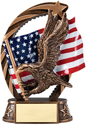 - Etch Workz Customize Resin Casting Award - Running Star Series American Eagle In Flight Resin Trophy - Gold Plated - Engraved & Personalized Free (5-1/2