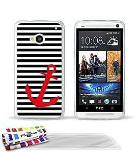 """Carcasa Flexible Ultra-Slim HTC ONE / M7 de exclusivo motivo [Marinero negro y ancla] [Transparente] de MUZZANO  + 3 Pelliculas de Pantalla """"UltraClear"""" + ESTILETE y PAÑO MUZZANO REGALADOS - La Protección Antigolpes ULTIMA, ELEGANTE Y DURADERA para su HTC ONE / M7"""