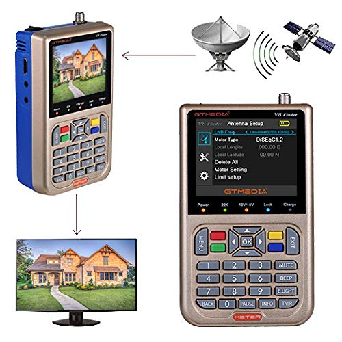 (GT MEDIA V8 Satellite Finder Signal Meter Upgraded TV DVB-S2/S2X Receiver Sat Detector, HD 1080P Free to Air FTA 3.5