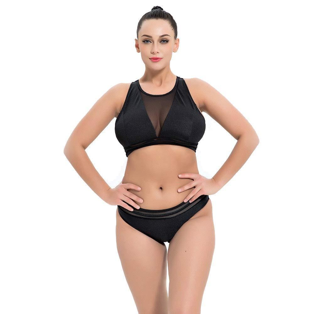 Damen Übergröße Geblümt Badeanzug Neckholder Strand Tankini Bademode Bikini-Set