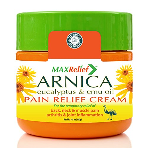 (MaxRelief Arnica Montana Pain Cream - For Sufferers of Knee, Joint & Outback Muscle Pain. Reduce Arthritis & Joint Inflammation. Plantar Fasciitis & Fibromyalgia Relief + Emu Oil 3.5 oz)