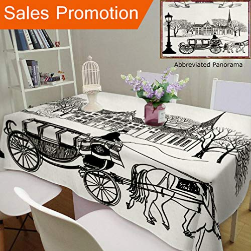 Scene Street Decor (Unique Design Cotton and Linen Blend Tablecloth Apartment Decor Old Street Scene with A Carriage Horse from Twenties Historical Northern EuropeCustom Tablecovers for Rectangle Tables, 60 x 40 Inches)