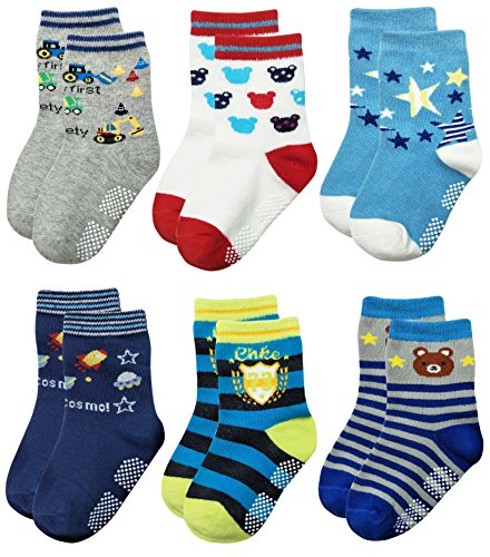 Deluxe Non Skid Anti Slip Slipper Cotton Crew Socks With Grips For Baby Toddlers Kids Boys (3-9 Months, 6 designs/RB-718)
