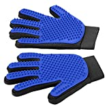 #2: [Upgrade Version] Pet Grooming Glove - Gentle Deshedding Brush Glove - Efficient Pet Hair Remover Mitt - Enhanced Five Finger Design - Perfect for Dog & Cat with Long & Short Fur - 1 Pair (BLUE)